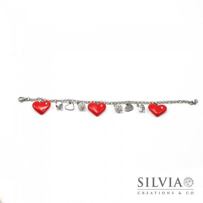Bracciale con catena acciaio con cuori rossi e charms