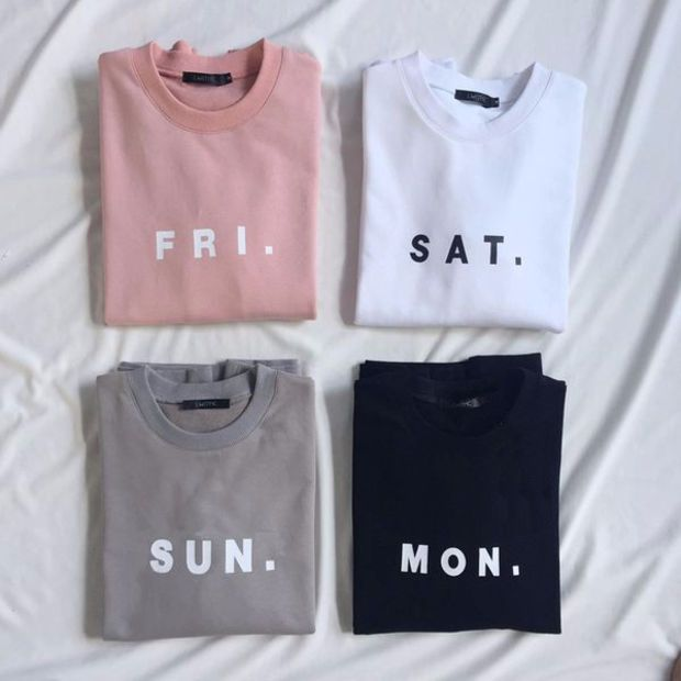 Friday Saturday Sunday Monday FRI SAT SUN MON Women's Casual Black Gray Pink & White Crewneck Sweatshirt