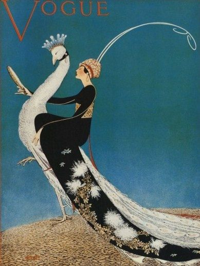 Fabulous Art Deco Vogue Cover Poster of Woman on White Peacock. 1918 Vogue Cover by George Plank.