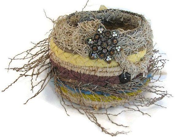 Bird's nest basket. Handwoven.  Basket. Ghost by Nu4UDesigns