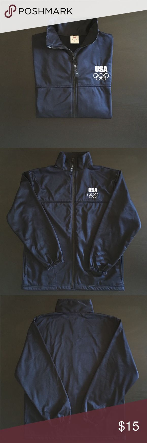Vintage United States Olympic Committee Jacket. Vintage United States Olympic Committee Jacket in navy blue.  Men's Large. 100% Polyester. There's a small hole inside of the right pocket that's only visible on the interior.  Super comfortable and lightweight.  Olympics logo is embroidered. Vintage Jackets & Coats Lightweight & Shirt Jackets