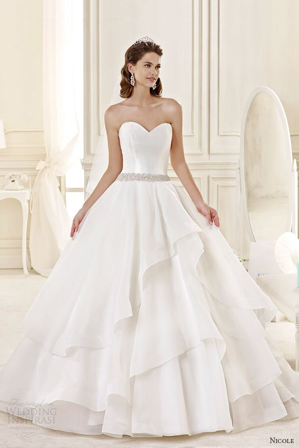 nicole spose bridal 2015 style 32 niab15098iv strapless sweetheart tiered ballgown wedding dress
