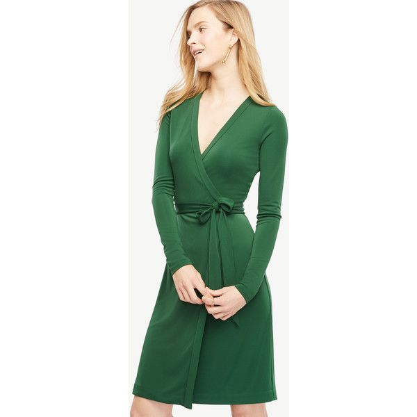 Ann Taylor Always On Wrap Dress ($98) ❤ liked on Polyvore featuring dresses, green eden, green dress, wrap tie dress, longsleeve dress, long sleeve v neck dress and long sleeve dresses
