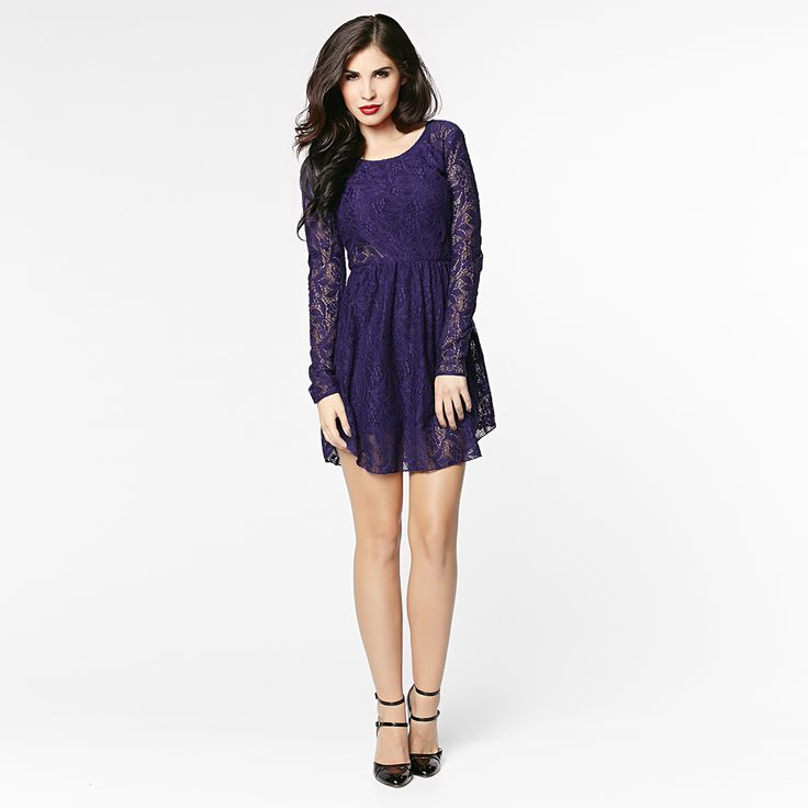 Be the star of the party with this trendy purple lace dress.