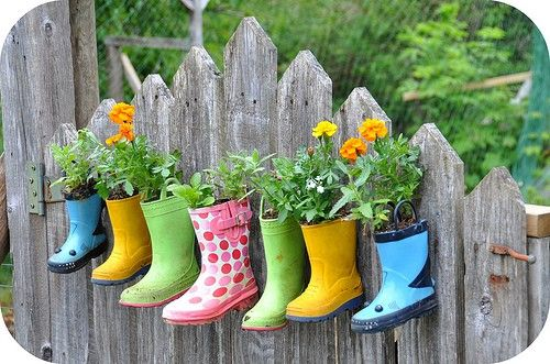 """great idea especially since my kids have """"lost"""" one boot of many different pairs!  Maybe one herb variety per boot?"""