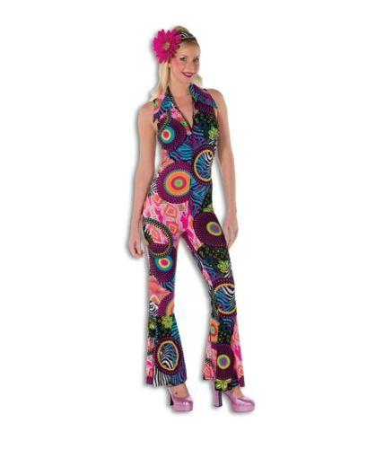 Schlager-Disco-Kostuem-Overall-Catsuit-Damenkostuem-Hippie-Flower-Power-Outfit-neu