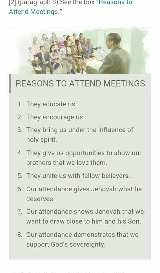 Reasons to attend meetings                                                                                                                                                                                 More