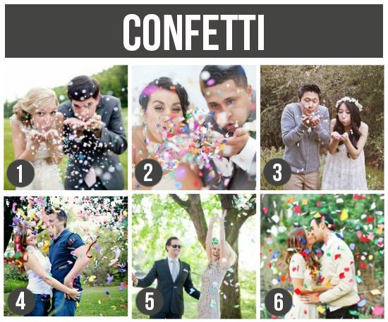 confetti, hmmmm....Ths is a GREAT site for ideas..dms 59  101 Tips and Ideas for Couples Photography