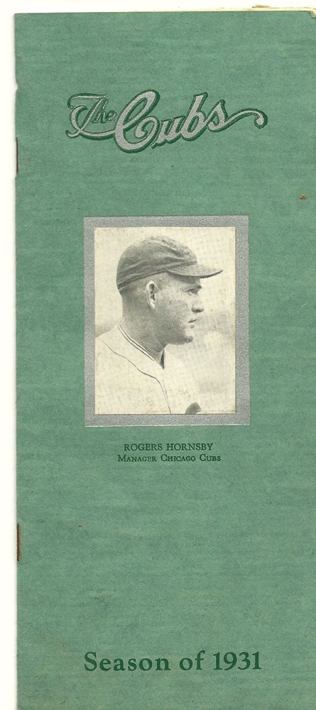SOLD - 1931 CHICAGO CUBS Spring Training Roster & Travel Guide / Booklet ROGERS HORNSBY
