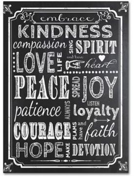 Ali Chris 35-Inch x 47-Inch Chalkboard Canvas Wall Art. I think this would be really sweet in our bedroom. Maybe a nice anniversary gift.   #chalkboard #wallart #decor #kindness #compassion #love #peace #joy #patience #hope #faith #etsy #affiliatelink