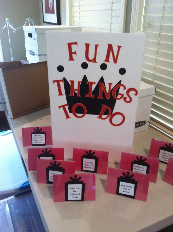 """Fun Things to Do was a section in a school silent auction and a great way to """"sell"""" passes:  Skateworld, Evergreen Aviation Museum, Lane County Ice, Enchanted Forest, etc."""