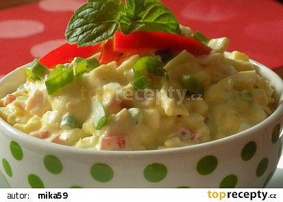 Vajíčkový salát se šunkou a jogurtem recept - TopRecepty.cz