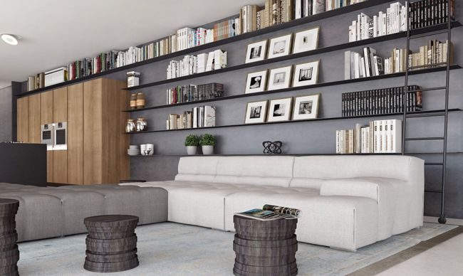 Appartement avec grande bibliothèque murale - Visit the website to see all pictures http://www.crdecoration.com/blog-decoration/decoration/appartement-avec-grande-bibliotheque-murale