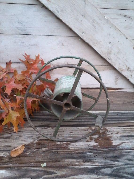 Industrial vintage hose reeldistressed green by happydayantiques, $45.00