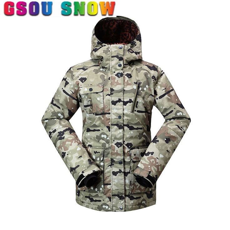 Gsou Snow Ski Jacket Women Winter Warmth Camo Snowboard Jackets Waterproof Windptoof Female 4 Color Outdoor Women's Ski Jackets #Affiliate