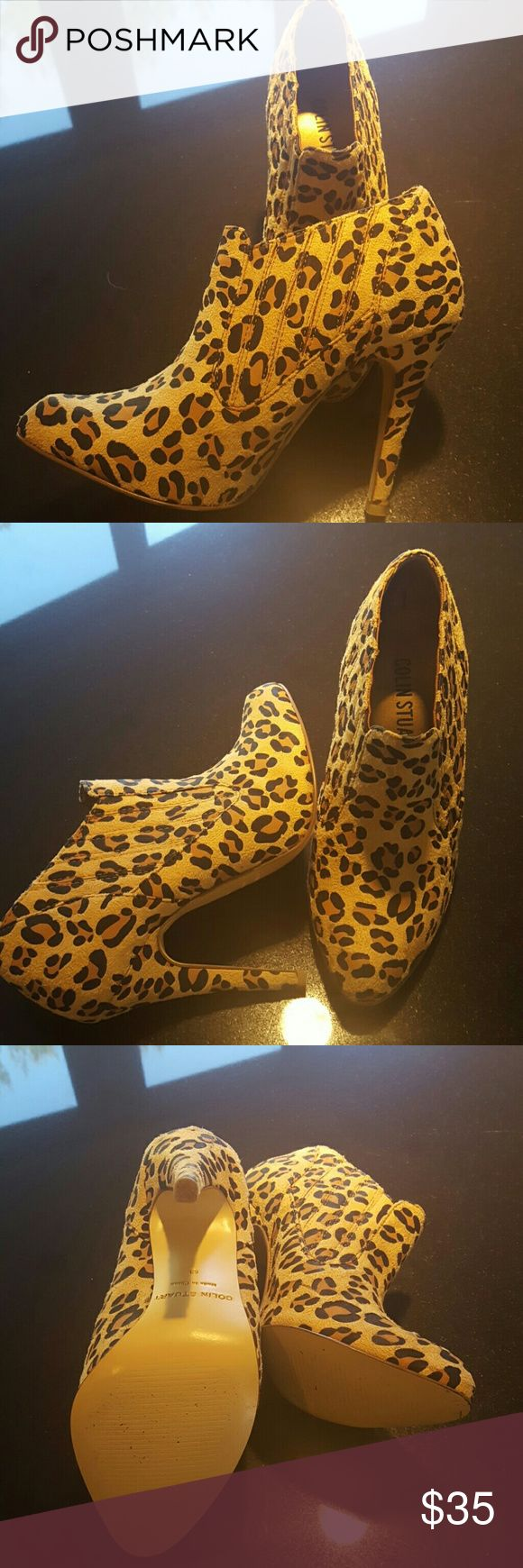 Colin Stuart Leopard Print Ankle Boots Gorgeous Colin Stuart Leopard Print Ankle Boots with about a 4 1/2 inch heel...slip on with stretch on both sides for easy on easy off..worn once. Colin Stuart  Shoes Ankle Boots & Booties