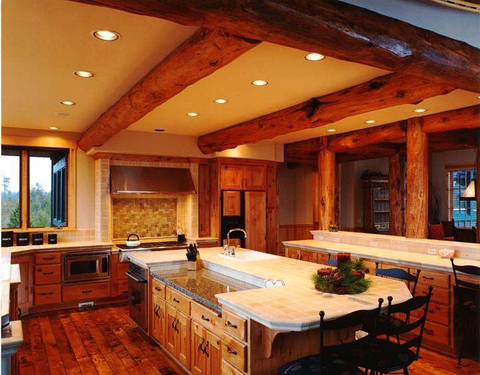 log home kitchen | Log Home Builders Oregon, Custom Log Homes in Central Oregon | Steve ...