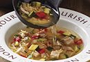 This soup is on the cover of the Fall Pampered Chef Catalog!!  Waiting for our first real Autumn day to make it for dinner!!  Can you believe home made soup in under 20 minutes?  Love it!  Chicken & Orzo Soup - The Pampered Chef®