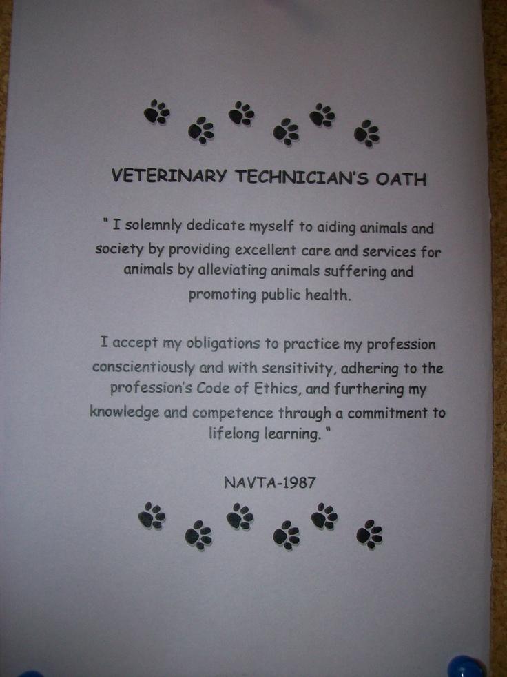 u003c3 The Veterinary Technicianu0027s Oath u003c3 34