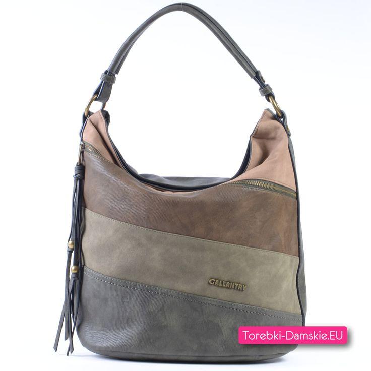 Duża torba damska w kolorze khaki z elementem beżowym i w odcieniach brązu - nowość http://torebki-damskie.eu/torebki-khaki/1675-pojemna-torba-khaki-bezowy-braz.html