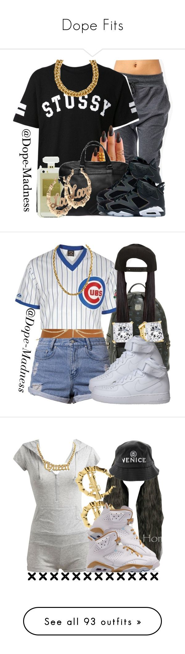 """Dope Fits"" by gbaby707 ❤ liked on Polyvore featuring Stussy, KEEP ME, CC, H&M, Retrò, MCM, ASOS, Somedays Lovin, NIKE and Roark"