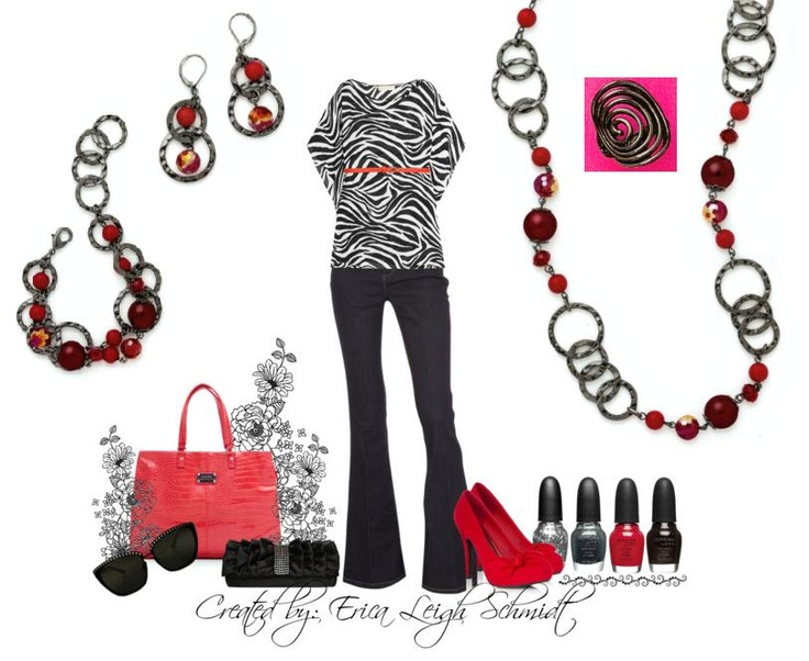 """Very Berry"" necklace, earrings, and bracelet. ""Groovy"" ring. (my last red zebra set was very popular, but the jewelry in that set has since retired... so this is the NEW zebra set with NEW red premier jewelry)"