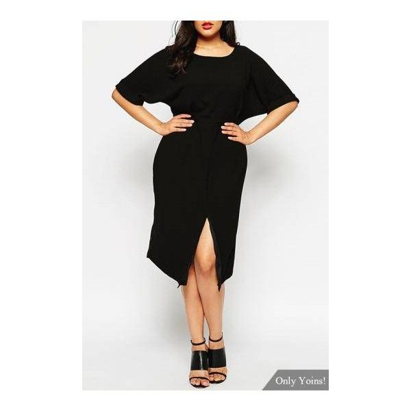 Plus Size Midi Dress with Splits Front (€26) ❤ liked on Polyvore featuring dresses, day party dresses, calf length dresses, plus size going out dresses, plus size night out dresses and plus size party dresses