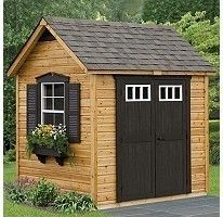 pretty shed - black doors, shutters, and window box