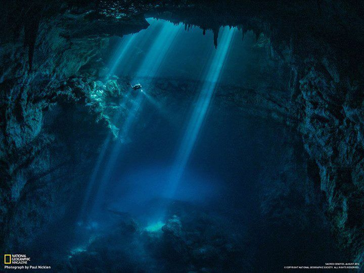 Cenotes and catastrophes-The cenotes of Yucatan in Mexico and the Caribbean are sinkholes containing lakes in a limestone karst landscape that has been dissolved by passing waters. They open onto extensive cave systems and underground rivers, some of which travel many miles underground (some have been explored by divers through 100Km of galleries)...