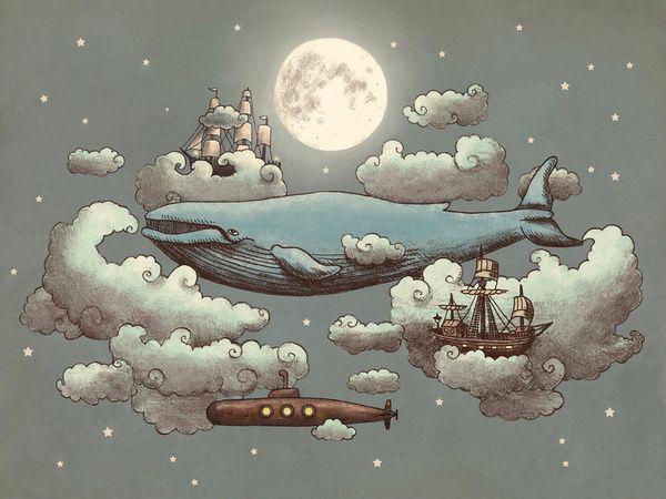 Lovely Illustration Print {love to get lost in the dreamlike world} // Ocean Meets Sky by Terry Fan
