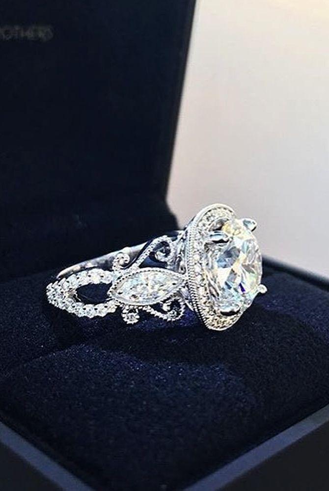 18 Best Vintage Engagement Rings For Romantic Look ❤ Best vintage engagement rings round cut halo white gold diamond ❤ More on the blog: https://ohsoperfectproposal.com/best-vintage-engagement-rings/