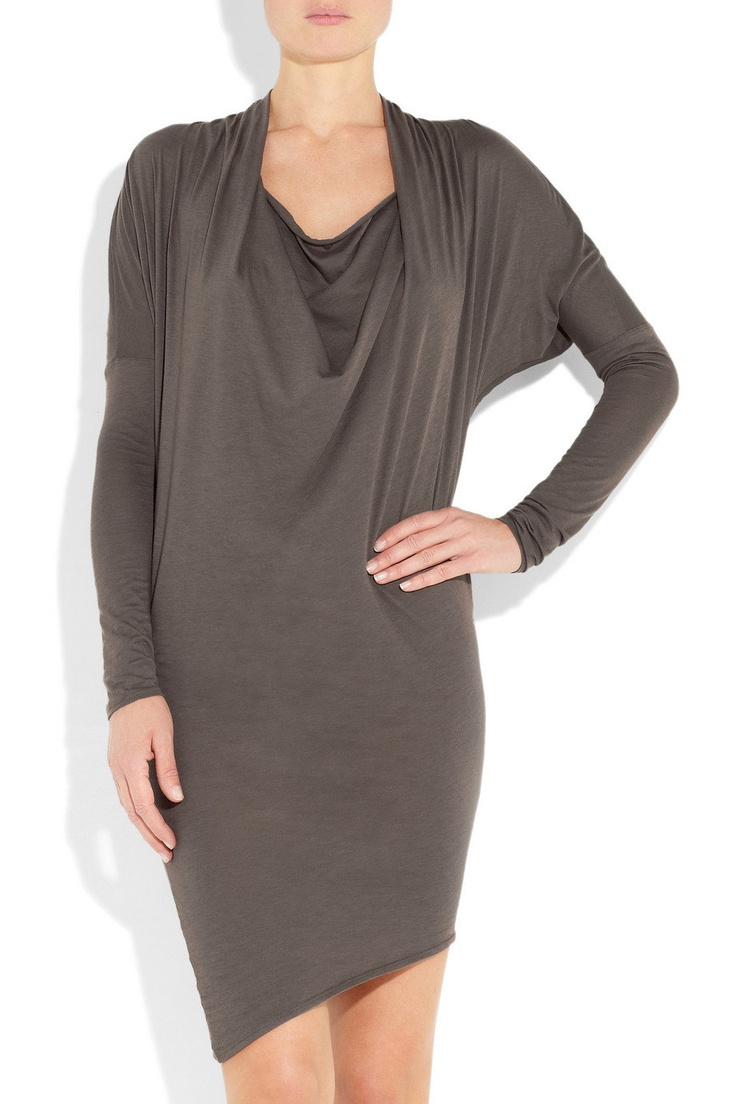 grey draped jersey dress