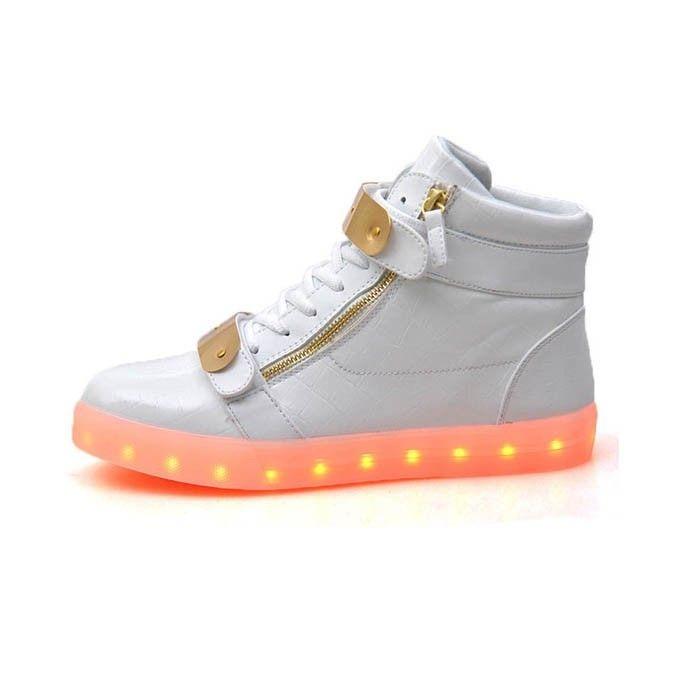 Zapatos Luminosos Con Metal Plato Y Cremalleras Blanco Mujer