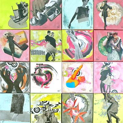 SOLD - Mix - A mix of 16 collages 20 x 20 cm