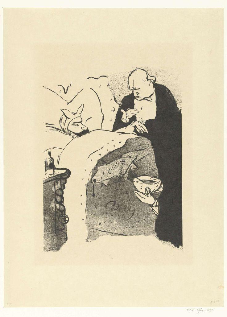 Henri de Toulouse-Lautrec | Omslag voor liedteksten voorstelling Carnot malade met dokter die polsslag opneemt van zieke man in bed, Henri de Toulouse-Lautrec, 1893 | Omslag oorspronkelijk bedoeld voor liedteksten van de voorstelling Carnot malade! Een dokter neemt polsslag op van zieke man in bed. Bij deze heruitgave is de tekst van de eerdere uitgave in 1893 verwijderd.