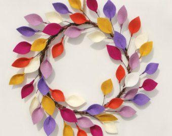 Lichte zomer krans met vilt verlaat - Boho moderne krans in geel, paars, oranje…