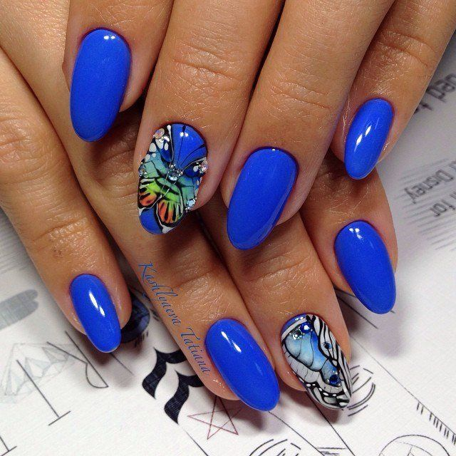 Beautiful nails 2016, Bright gel polish for nails, Bright- blue nails, Butterfly nails, Manicure by summer dress, Nail polish for blue dress, Nailswith butterfly wings, Oval nails