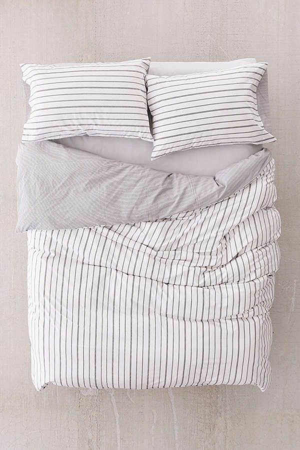 URBAN OUTFITTERS HOME BLACK & WHITE REVERSIBLE STRIPE DUVET COVER QUEEN / FULL #UrbanOutfittersHome