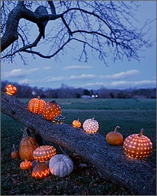 Pumpkin luminaries, drill with a big drill, fill with a candle or ledlights.