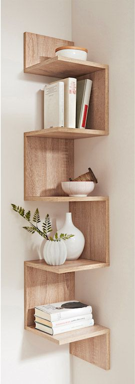 minimal wooden shelves