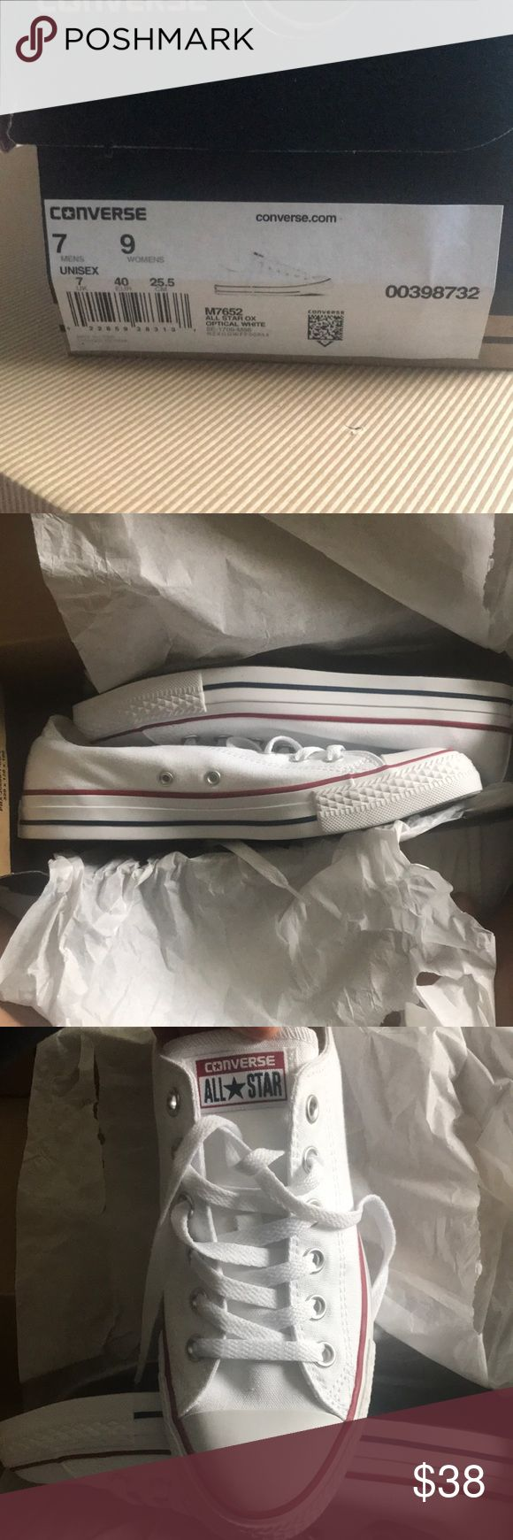 White converse 4 SALE !!!! all white converse. NEVER WORN!!!!  size 7 in men's and 9 in women's (Unisex). Comes with the box. Converse Shoes Sneakers