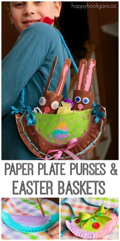 Paper Plate Easter Craft for Kids to Make.  Have the kids design and make their own purses and Easter baskets for Spring.  There's even a little beginner sewing project involved here. - Happy Hooligans
