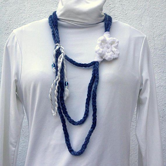 Crochet flower necklace Handmade jewellery evil eye bead