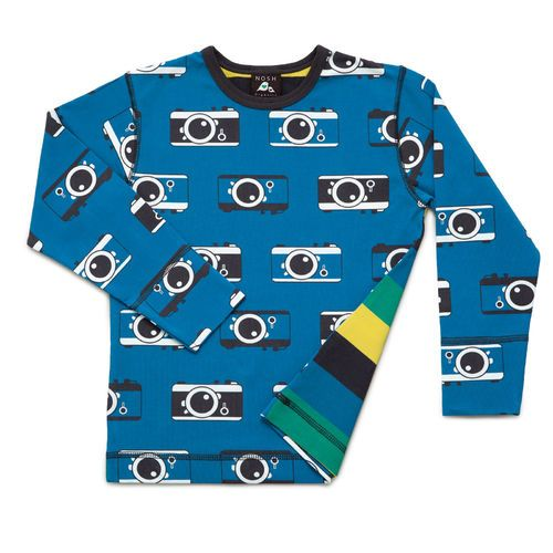 Long Sleeve T-Shirt Camera print with striped back. All NOSH clothes are made of high quality organic cotton.