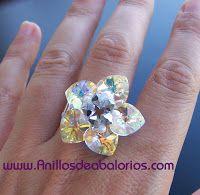 Anillos de Abalorios: Esquema de anillo con corazones de cristal Swarovs...
