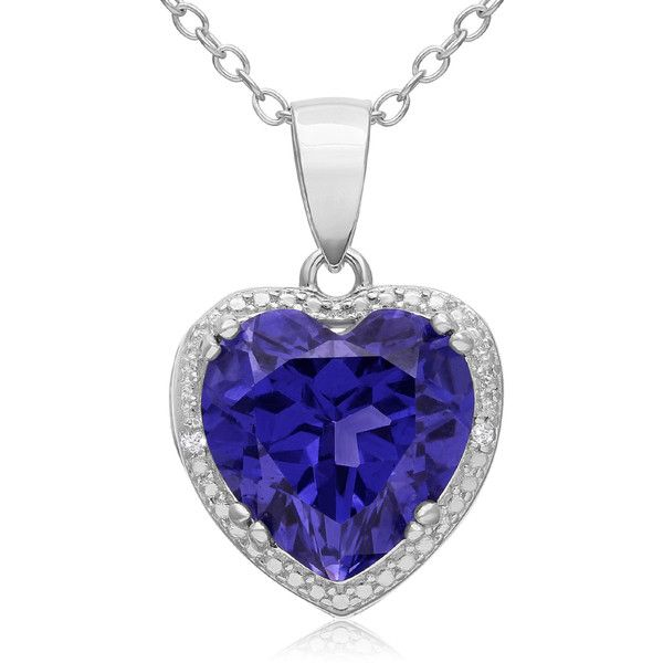 3 Carat Created Tanzanite and Diamond Heart Necklace in Sterling... ($33) ❤ liked on Polyvore featuring jewelry, necklaces, blue, sterling silver necklaces, blue diamond necklace, round diamond necklace, heart shaped necklace and heart necklace