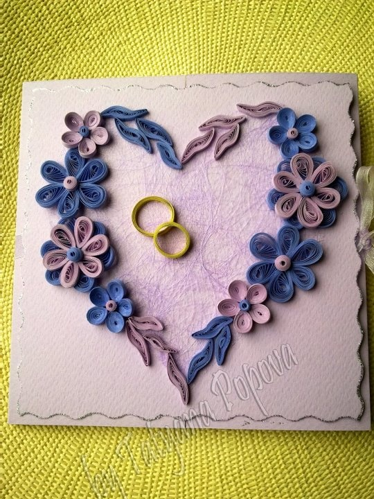 Lovely Quilled Wedding Card By Tatyana Popova From Her Fb Site