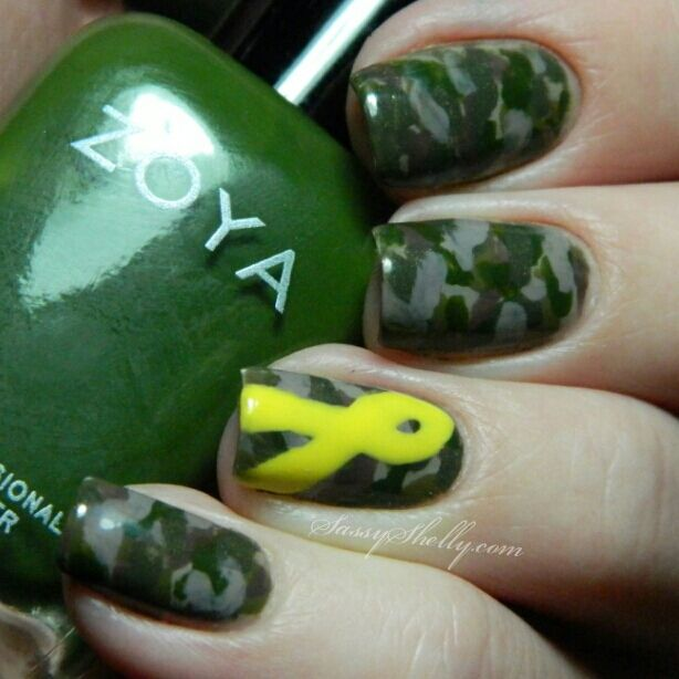 Support Our Troops!   Camouflage Nail Art