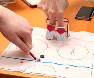 Finger sports have kept us entertained for years in school and while at work, but these finger hockey games take it to a whole new level. Included in this desktop ice hockey set are finger goalie pads, one mini hockey stick, a mini puck and goal, and of course the ice rink.