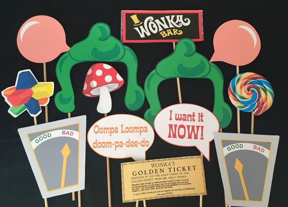 Willy Wonka the original Photo booth props. You get everything in the photo. These images are printed on card stock and attached to a wooden